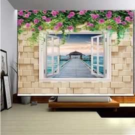 Bridge on the Sea outside the Flower Wall 3D Printed Roller Shades