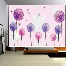 3D Printed Pink Dandelions and Flowers Blackout and Water-proof Roller Shades