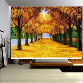 3D Yellow Leaves and Peaceful Road Printed Blackout and Water-proof Roller Shades