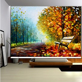 3D Fallen Yellow Leaves with Bench and People with Road Printed Roller Shades