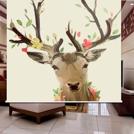 3D Elk with Glass and Flowers Cartoon Style Printed Blackout Roller Shades