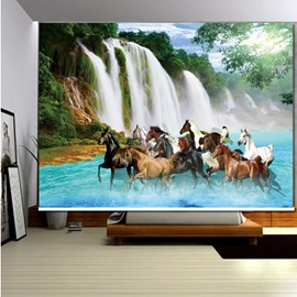 3D Horses Running in Flowing River Printed Blackout Roller Shades