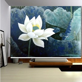 3D Lotus and Leaves Simple Style Printed Decor of Room Roller Shades