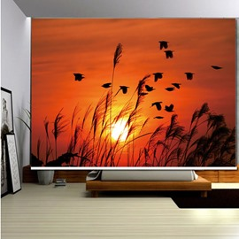 3D Wild Goose Reeds and Sunset Printed Blackout Roller Shades