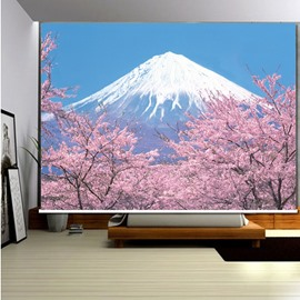 3D Famous Mount Fuji and Cherry Blossoms Printed Blackout Room Curtain Roller Shades