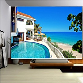 3D Swimming Pool and Sea House with Beautiful Beach Scenery Style Roller Shades