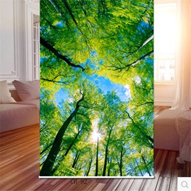 3D Green Trees and Bright Sunlight Decoration and Blackout Natural Style Roller Shade