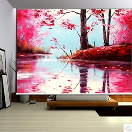 3D Red Leaves and Trees with Peaceful Lake Printed Blackout Curtain Roller Shade
