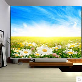 3D Bright Sunlight and Beautiful Sunflowers Printed Natural Style Blackout Curtain Roller Shade