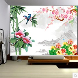 3D Magpie Bamboo and Flowers Printed Natural Style Decoration and Blackout Curtain Roller Shade