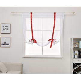 Red Line Simple Design Curtain Shade for Bathroom Kitchen