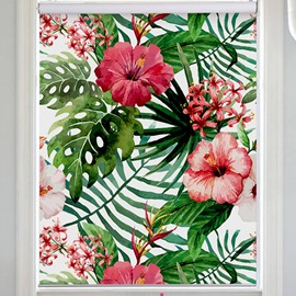 Window Decor Green Palm Leaves and Azaleas Printing Flat-Shaped Roman Shades