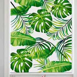 Modern Decor Green Palm Leaves Printed Flat-Shaped Roman Shades