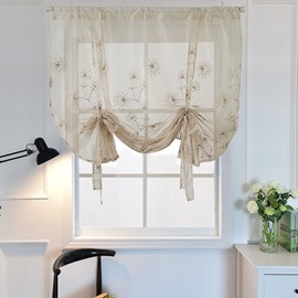 Romantic Modern Decor Floral Embroidery Voile Transparent Roman Shades