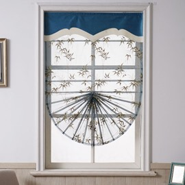 Bird Pattern Fan-Shaped Custom Bamboo Embroidered Roman shades