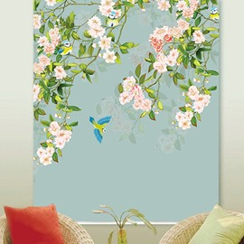 Classy Fabric Blackout and Heat Insulation Decorative Custom Roller Shades with Pink Flowers and Blue Birds Pattern