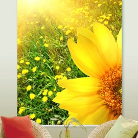 Gorgeous Golden Sunflower Field Printing 3D Decorative and Blackout Custom Roller Shades