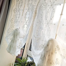 Elegant Linen Embroidered Decorative Roman Sheer Shades