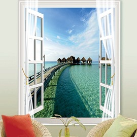 3D Scenery Print Blackout Decorative Roller Shades with Fantastic Sea Beach View