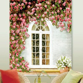 3D Realistic Print Blackout Roller Shades with White Wall and Pink Rose Design
