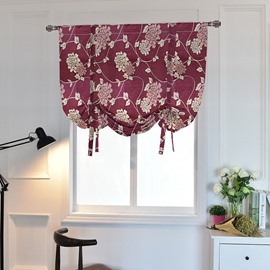Modern Red Jacquard Floral Roman Blinds Blackout Curtains Pull-up Curtain 1 Piece Waterproof Polyester