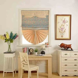 Korean-Style Chenille Floral Print Roman Shades