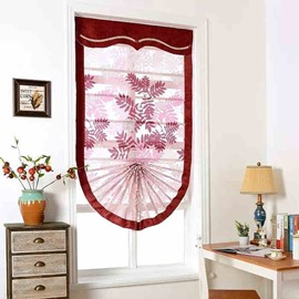 European Style Modern Red Maple Leaf Pattern Sheer Roman Shades