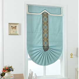 Modern Concise Mediterranean Style Blue Chenille Roman Shades