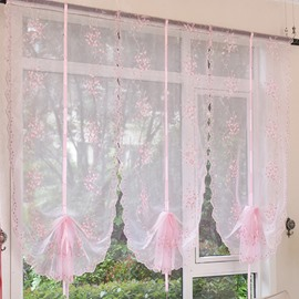 Lovely Pink Vine Embroidery Sheer Tied-Up Roman Shades