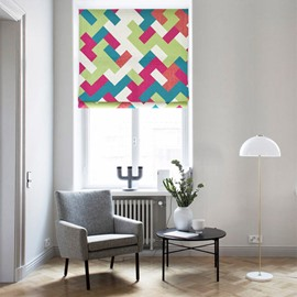 Modern Decor Colored Geometric Printing Flat-Shaped Roman Shades