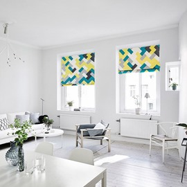 Modern Blue and Green Geometric Printing Flat-Shaped Roman Shades