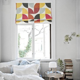 Chic Colored Blocks Printing Linen Roman Shades