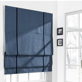 Contemporary Dark Blue Cotton and Linen Blending Flat-Shaped Roman Shades