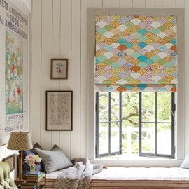 Designer Colored Waves Printing Cotton and Linen Blending Roman Shades