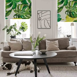 Watercolor Banana Leaves Printing Cotton and Linen Blending Roman Shades