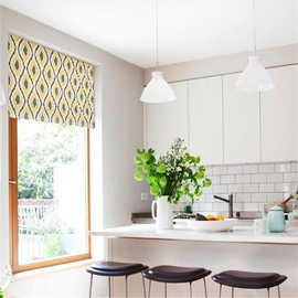 Wonderful Yellow Color Irregular Geometry Patterns Printing Modern Decorative Roman Shade