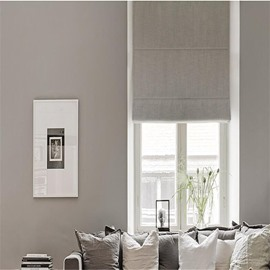 Solid Grey Color Printing Modern European Style Living Room and Bedroom Roman Shade