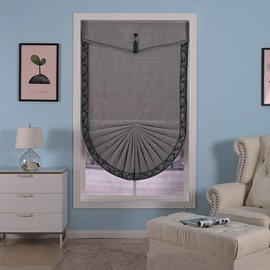 Modern and Fashion Dark Grey Printing Bathroom and Kitchen Room Roman Shades