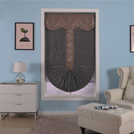 Black Shading Cloth with Brown Valance Living Room Small Window Roman Shade