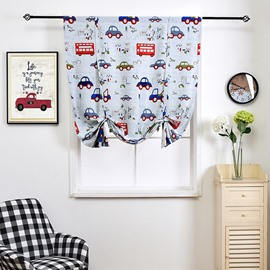 Bus and Car Cartoon Printed DrapesWindow Shade for Kids