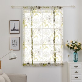 Pastoral Style White Floral Shade Curtain for Window Decor
