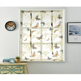Flying Butterfly On Kitchen Shade Printed Decorative Drapes