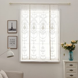 Pastoral Style White Embroidery Shade Curtain for Window Decor