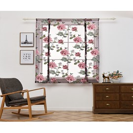 Red Flower Romantic Style Shade For Kitchen/Bathroom