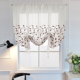 Modern Decor Delicate Embroidery Voile Soft Roman Shades