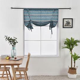 Mediterranean Style Blue Roman Blinds Cotton Linen Curtain Blackout