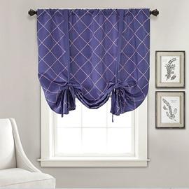 Modern Purple Geometric Pattern Roman Blinds Blackout Curtains Pull-up Curtain 1 Piece Waterproof Polyester