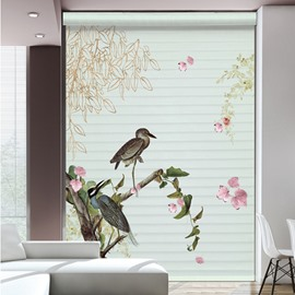 Couple Birds Standing in the Branches Printing 3D Shangri-La Blinds & Roller Shades