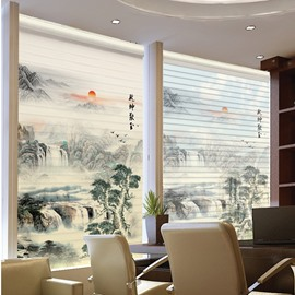 Chinese Style Landscape Painting Polyester Shangri-La Blind & Roller Shades
