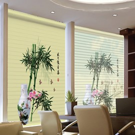 Green Bamboo and Flowers in Vase Printing 3D Shangri-La Blinds & Roller Shades